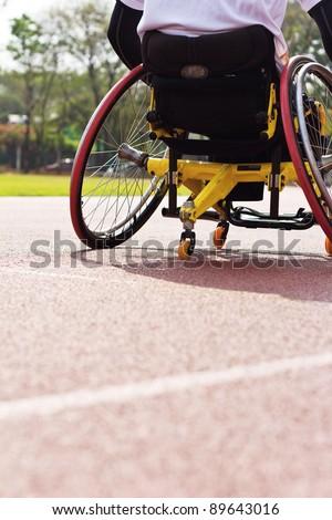 wheelchair race - stock photo