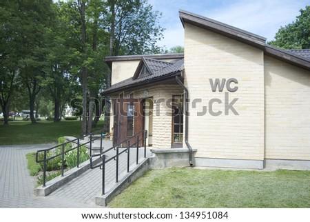 wheelchair ramp to the toilet - stock photo