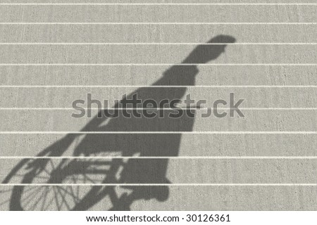wheelchair shadow on stairs - stock photo