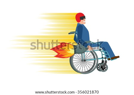 Wheelchair with turbo engine. Disabled fast rides. Man in Chair in Moto helmet. Turbine fire - stock photo