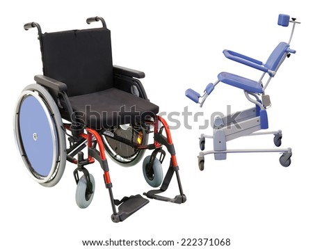 wheelchairs under the white background - stock photo