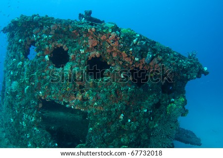 "Wheelhouse of an artificial reef named the ""Ancient Mariner"".  In the waters off Deerfield Beach, Florida. - stock photo"