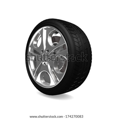 Wheels car isolated on white. 3d real illustration.