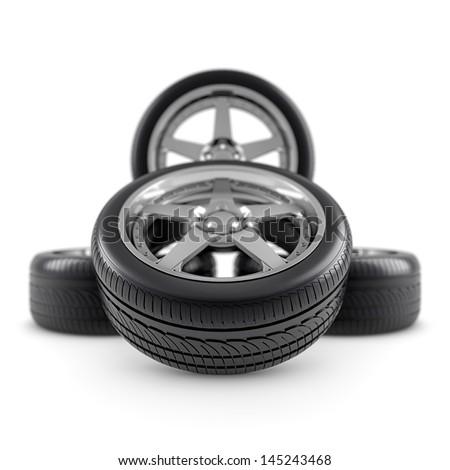 Wheels composition on white - stock photo