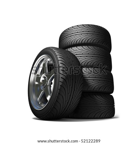 Wheels for the sports car - stock photo