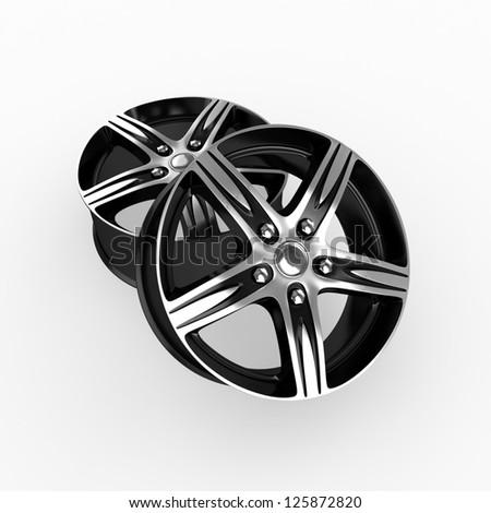 Wheels isolated on white - stock photo