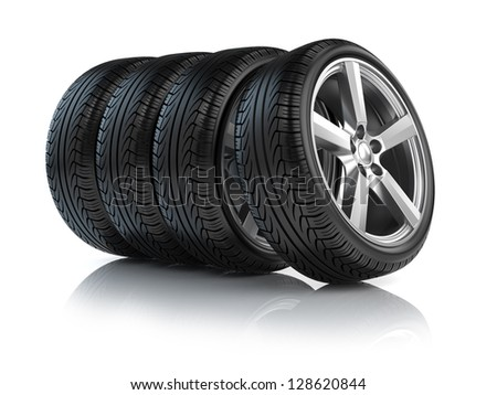Wheels isolated on white - stock photo