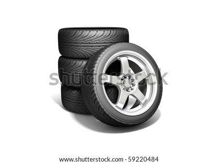 Wheels isolated on white. 3d illustration.