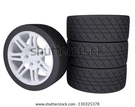 Wheels. Isolated render on a white background
