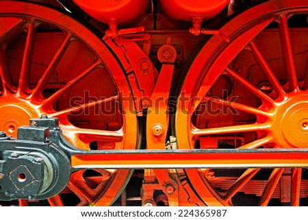 Wheels  of the old locomotive on the rails