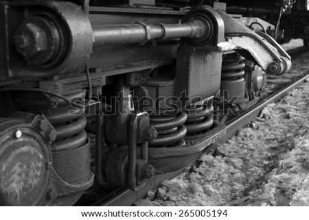 Wheels of the train. black and white photo - stock photo