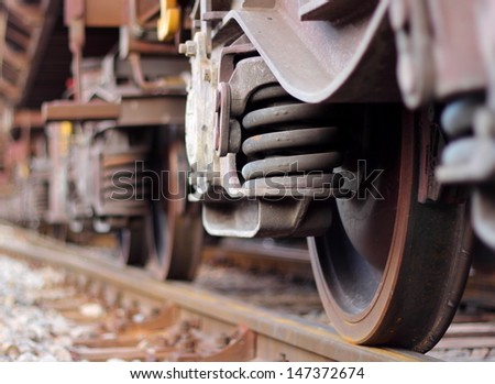 Wheels of train  - stock photo