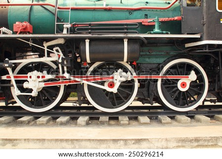 Wheels of vintage steam locomotive,old train. - stock photo