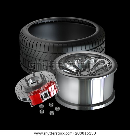Wheels, Rims , brake pads and discs. CAR PARTS. isolated on black background High resolution 3d render