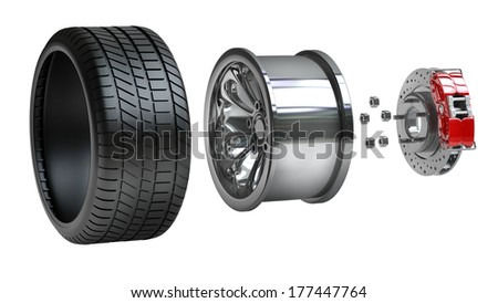 Wheels, Rims , brake pads and discs. CAR PARTS.  isolated on white background High resolution 3d render  - stock photo