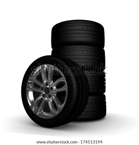 Wheels, tires. on white. 3D Real illustration.  - stock photo