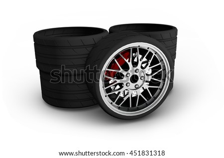 Wheels with alloy rims - 3d render