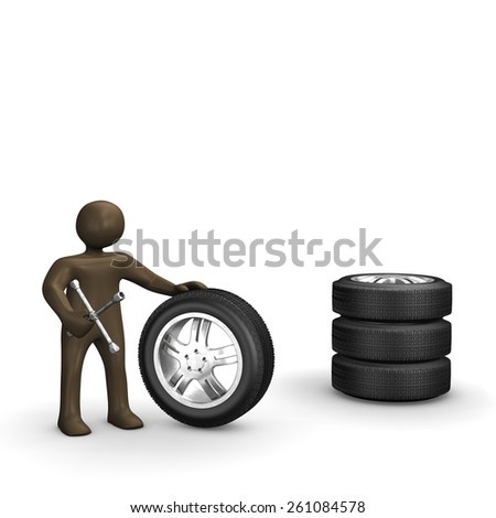Wheels with spanner, 3D Illustration with black cartoon character - stock photo