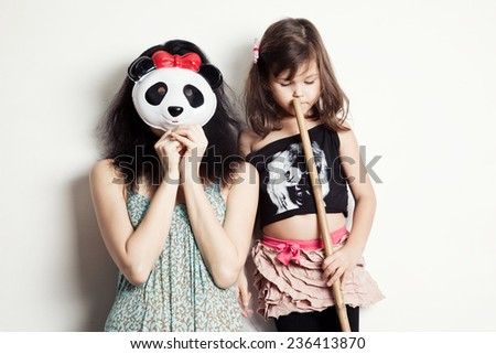 When my mother Panda - stock photo