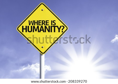 Where is Humanity? road sign with sun background - stock photo
