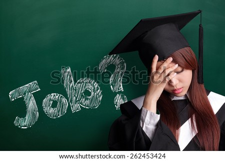 Where is job - unhappy sad student woman graduating with chalkboard, asian beauty - stock photo