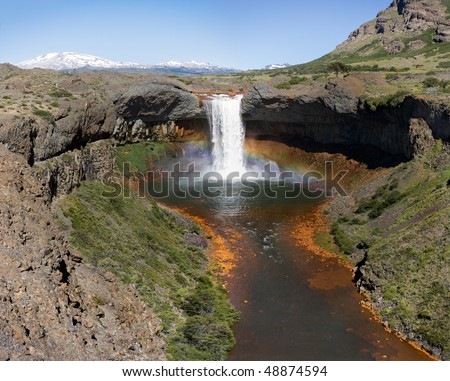 Where the River Falls.Waterfall on Agrio river, Patagonia, Neuqen. Land of dinosaurs an volcanos. Provincial Park of Copahue.