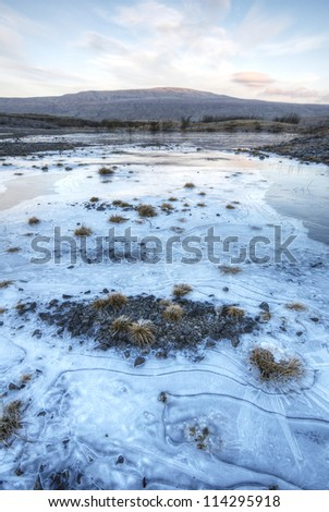Whernside from a frozen Ribble Quarry