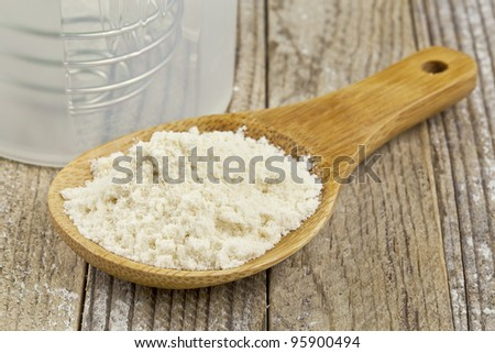 whey protein concentrate powder on wooden scoop and a shaker bottle - nutrition concept