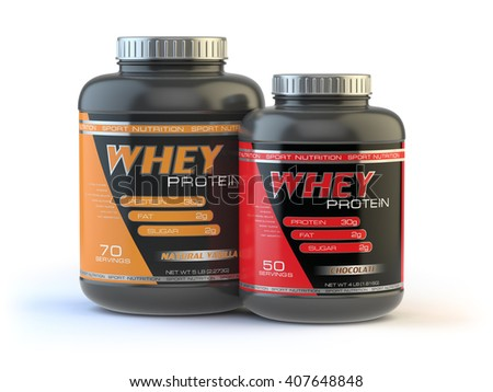 Whey protein isolated on white. Sports bodybuilding  supplements or nutrition. 3d illustration - stock photo
