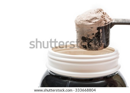Whey protein scoop. Sports nutrition,isolated on white background - stock photo