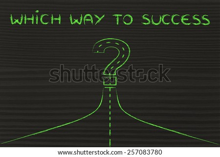 which way?, metaphor of road path turning into a question mark - stock photo