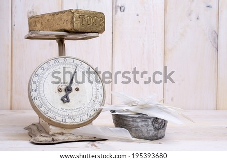 Which weighs more, a pound of gold or a pound of feathers. - stock photo