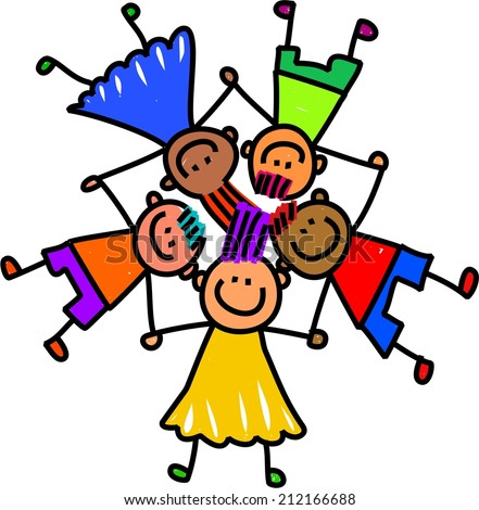whimsical cartoon illustration of a group of happy and diverse children holding hands