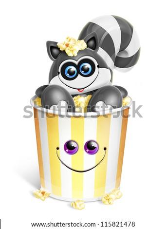 Whimsical Cartoon Raccoon in Popcorn Bucket - stock photo