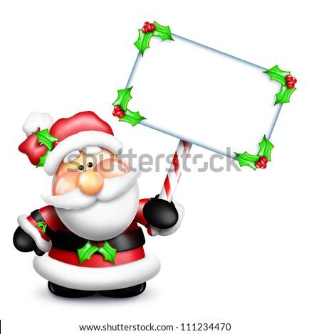Whimsical Cartoon Santa Holding Blank Sign - stock photo