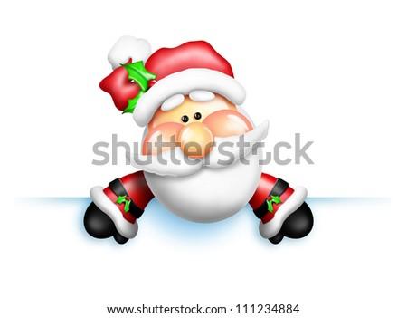 Whimsical Cartoon Santa Leaning Over Edge - stock photo