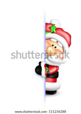 Whimsical Cartoon Santa Peeking Around Corner - stock photo
