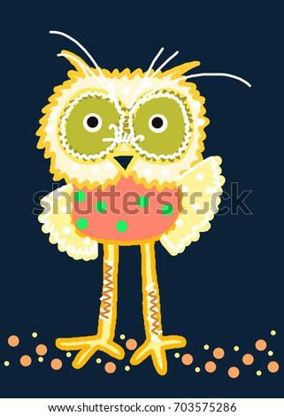 Whimsical owl cartoon abstract bird background stock illustration whimsical owl cartoon abstract bird background funny art colorful polka dot orange yellow green black wallpaper voltagebd Gallery