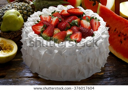 whipped cream cake with strawberry - stock photo