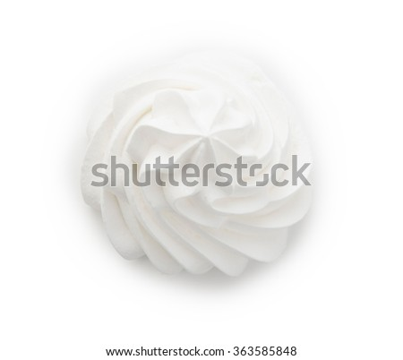 Whipped cream isolated on a white background with clipping path. Top view. - stock photo
