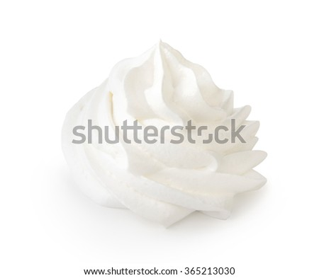 Whipped cream isolated on white background with clipping path. Front view. - stock photo