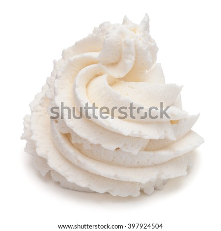 Whipped cream swirl  isolated on white background cutout - stock photo