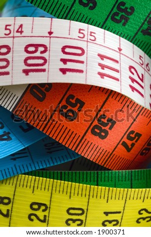 whirled colored tape measures
