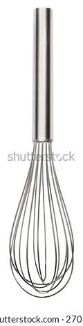 Whisk. Houseware: steel whisk, isolated on white background - stock photo