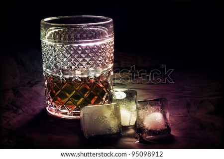 Whiskey and Ice - stock photo