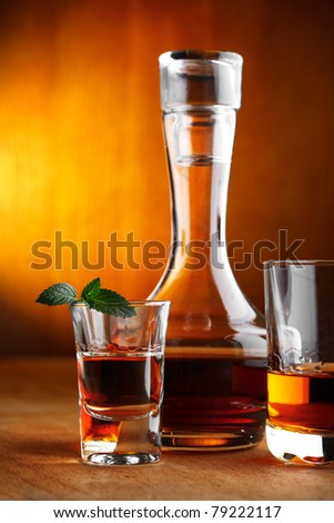 whiskey and tequila with mint