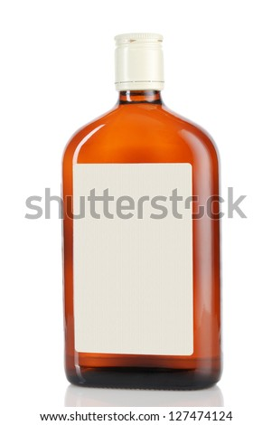 whiskey bottle with a label on a white background - stock photo