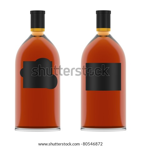Whiskey Bottles with blank Labels isolated over white background.  High quality render. Used special lighting setup to prevent unpleasant highlights. - stock photo