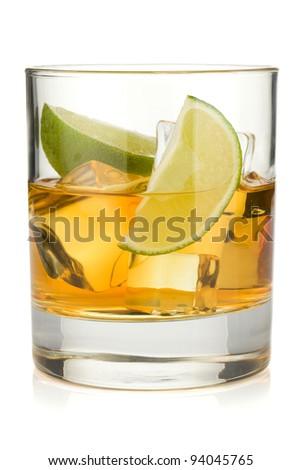 Whiskey cocktail with lime. Isolated on white background
