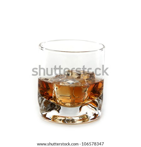 Whiskey glass. Isolated on white